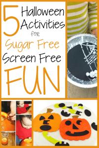 Grid image of prechool and toddler Halloween activities