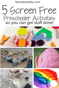 collage of screen free toddler activities